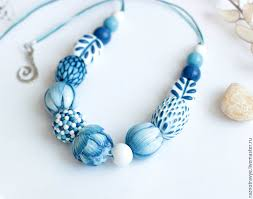 Polymer Clay White And Blue Necklace Tutorial DIY Step By