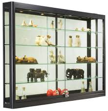 Decoration Wood Glass Display Case Lockable Cabinet Wall Hung Cabinets For Living Room Black