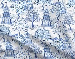 stoffe bty asian flower porcelain blue flowers on