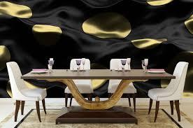 vlies tapete poster fototapete 3d schwarz gold punkte stoff seide