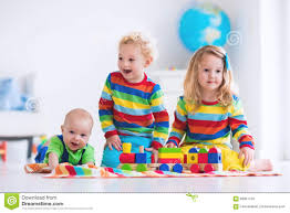 kids playing with wooden toy train stock photo image 68361133