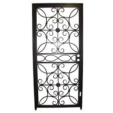 Decorative Security Bars For Windows And Doors by Grisham 36 In X 80 In 467 Series Black Prehung Universal Hinging