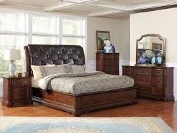 ■bedroom Teak King Bedroom Sets With Tufted Leather Headboard