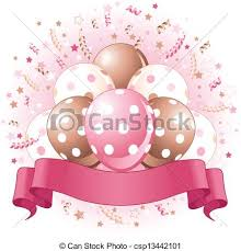 Pink Birthday Balloons Design Vector