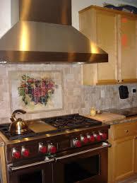 wine grape tumbled marble kitchen backsplash traditional