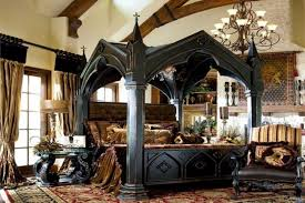 Bedroom Excellent Image Of Gothic Style Decoration Using Decorative Black Wood King Size Canopy Bed Frame