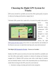 100 Truck Gps System Calamo Choosing The Right GPS For S