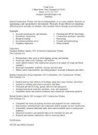 construction worker resume exle construction labor resume exle