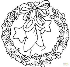 Christmas Wreath Coloring Pages Free Advent Page Pdf Bow Holding Stockings Stars Large Size