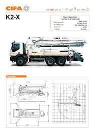 100 Concrete Truck Dimensions Mounted Pumps The Range K2 X CIFA SpA PDF Catalogs