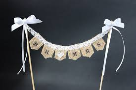 Mr Mrs Wedding Cake Topper Burlap Hessian Bunting Banner Flags With Lace And Ribbon Trim Rustic