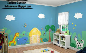 Zoo Kids Room Theme Italian And Paints Animal Drawings