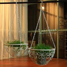 Railing Wrought Iron Hanging Basket Flower Pot Rustic Diaolan Pots Holder