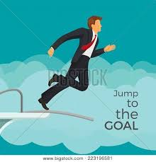 Jump To The Goal Agitative Poster With Businessman In Suit And Red Tie That Jumps From