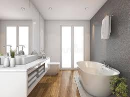 hölzernes badezimmer und toilette der wiedergabe 3d mit