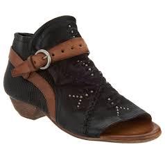 Miz Mooz Leather Peep Toe Booties