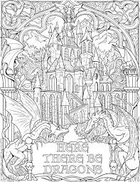 Here There Be Dragons Coloring Page