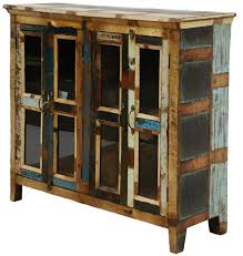 Distressed Painted 4 Door Cabinet
