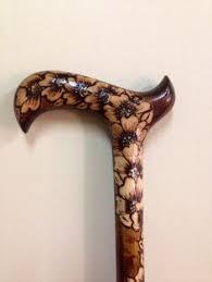 ooak wood burned walking cane with by atkinsglassandcanes on etsy