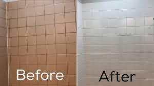 Reglazing Sinks And Tubs by Refinishing Ceramic Tile In My Bathroom Before And After Youtube