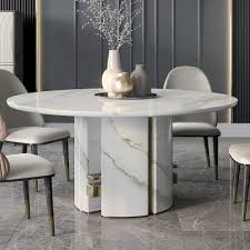 Luxury Italian Designer Contemporary Round Marble Dining Table