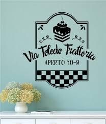 Via Toledo Trattoria Italian Vinyl Decal Wall Stickers Words Lettering Kitchen Decor