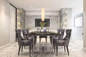 3d rendering blaues essen in modernen luxus esszimmer nahe tür gesetzt
