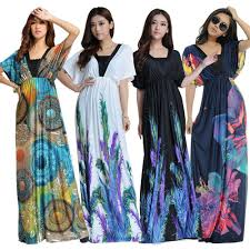 women plus size floral maxi bohemian beach summer long dress m