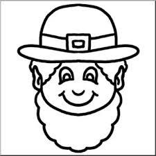 Clip Art Cartoon Faces Leprechaun B&W This black and white