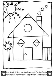 House Shape Coloring Sheet
