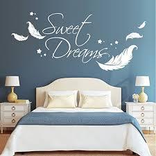 wandtattoo loft wandaufkleber schriftzug sweet dreams zitat mit federn und sternen 54 farben 3 größen weiß 55 cm hoch x 125 cm breit
