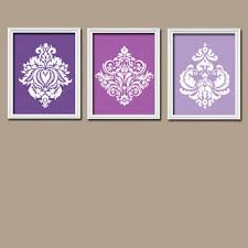 Wall Art Design Ideas Gradation Colouring Purple For Bedroom Damask Vintage Shades Illustration