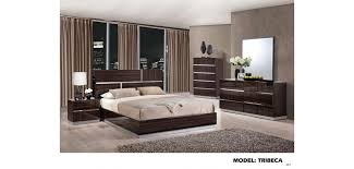 Tribeca Brown High Gloss Modern Wood Bedroom Set