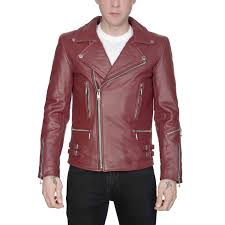 defector leather jacket burgundy with nickel hardware straight