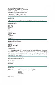 Cosy New Nurse Resume No Experience About Experienced Rn Inside Sample Nurses Without