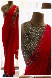 Gorgeous Red Georgette Embroidery With Mirro Handwork Designer Saree Tap To Expand