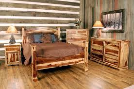 Rustic Log Bedroom Furniture Brown Ceramic Floor Tile Painted Brick Accent Walls Turquoise Beadboard White