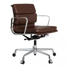chaise de bureau vitra fauteuil de bureau ea 217 cuir marron classique piétement chromé