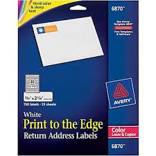 AveryR 6870 Color Printing Matte White Laser Return Address Labels 3 4