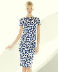 carolina herrera short sleeve gaspar print sheath dress in blue lyst