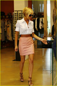 posh makes one proud appearance victoria beckham pink leather