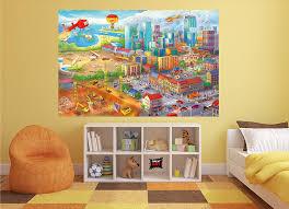 wanddeko wandbild dekoration wimmelbild großstadt baustelle
