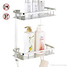 großhandel badezimmer regal kein bohren dusche lagerregal handtuch shoo korb durable aluminium 2 tiers küche badezimmer sticky keine bohrer regale