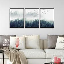 chambre foret décoration poster toile lot de 3 posters toiles forêt de