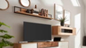 interliving wohnzimmer serie 2106 wandboard 620950 asteiche schwarzes metall länge ca 147 cm