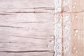 Lace Pearls Bowknot Canvas Sackcloth On Wooden Background Rustic Design