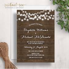 Image Is Loading Rustic Wedding Invitation Wood Fairy Lights Vintage Country