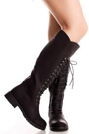 black faux leather lace up knee high boots women u0027s boots