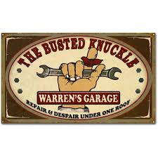 Personalized Busted Knuckle Garage Shop Sign