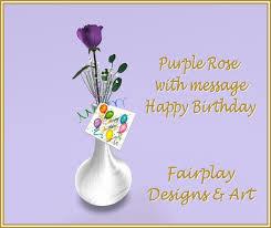 Happy Birthday Single Purple Rose in Silver Vase